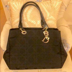 Christian Dior black Lady dior canvas carnage bag
